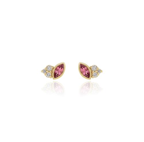 Pink Tourmaline and Diamond Studs