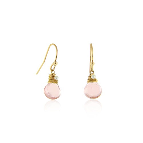Rose Quartz Drop and Pearl Earrings
