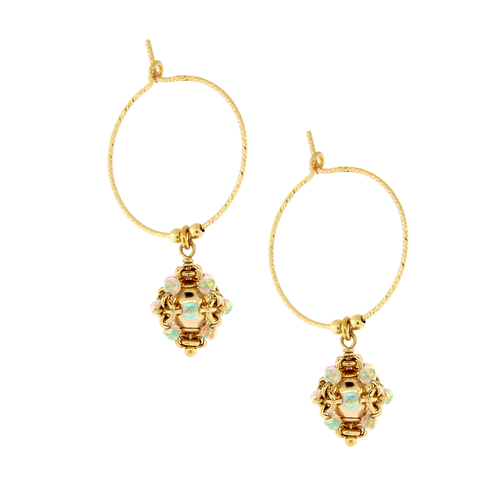 Sparkle Hoop Earrings with Charm