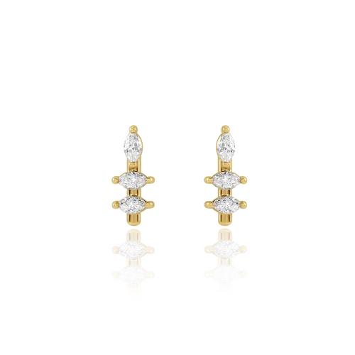 Three Marquise Diamond Stud Earrings