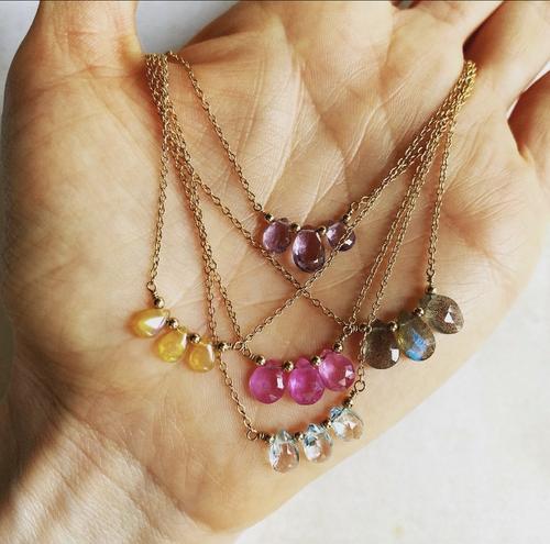 Three Teardrop Necklace