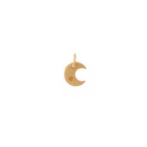 Mini Moon Charm with Star Engraving