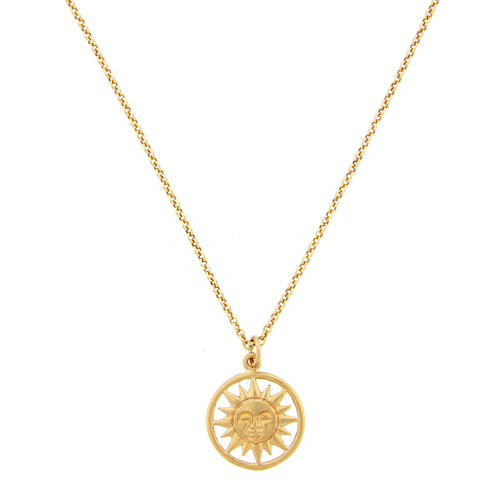 Sun Face Medallion Necklace