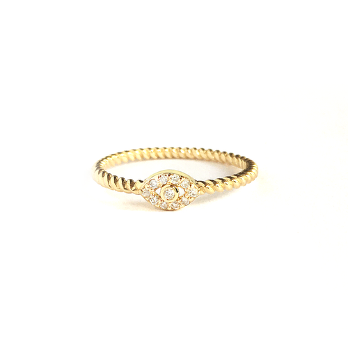 14k and Diamond Eye Ring