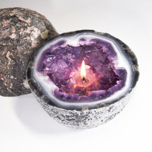 Amethyst Crystal Geode Candle