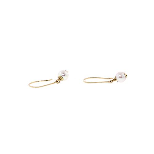 14k Dangling Pearl Earrings