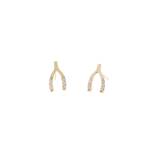 14k Wishbone Earrings with Diamonds
