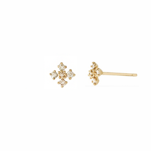 14k Cross Studs with Diamonds