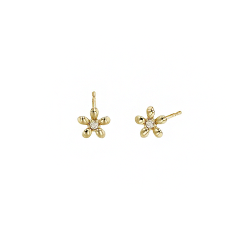 14k Flower Earrings with Diamonds