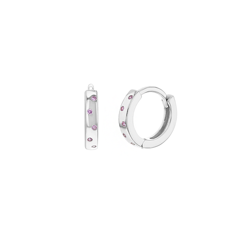 Silver Huggie Earrings with Pink Stones