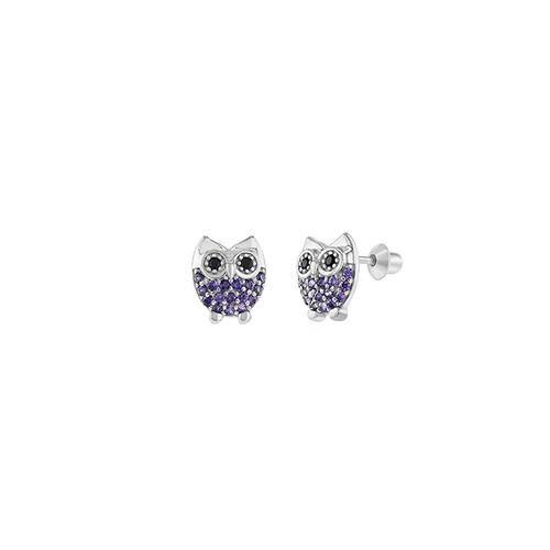 Purple Owl Studs