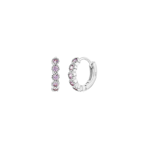 Pink Cubic Zirconia Hoop Earrings