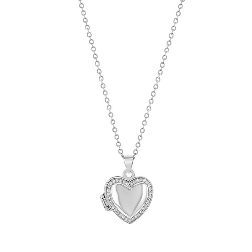 Heart  Locket with Cubic Zirconia