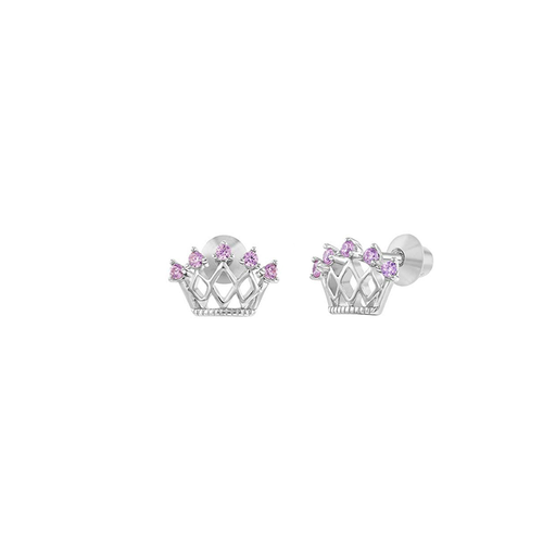 Crown Stud Earrings with Pink Cubic Zirconia