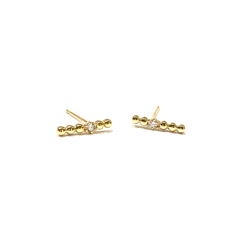Beaded Bar Studs with Diamonds