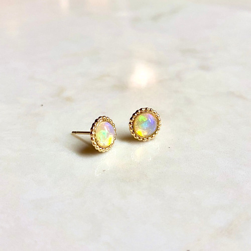 Beaded Edge Opal Earrings