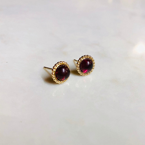 Beaded Edge Garnet Earrings