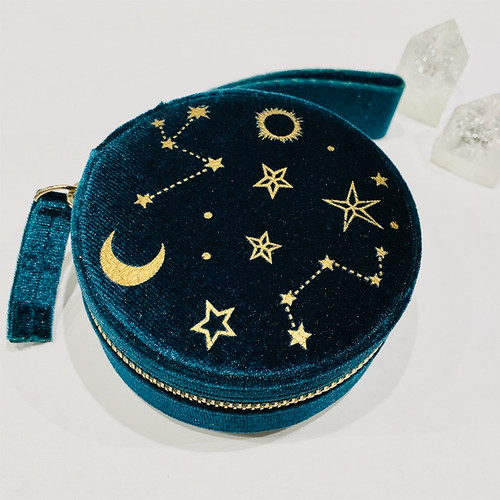 Starry Night Velvet Jewelry Case - Teal