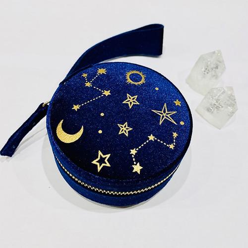 Starry Night Velvet Jewelry Case - Navy