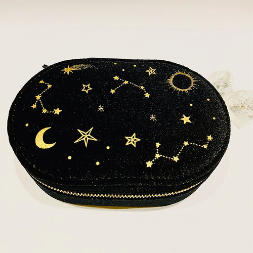 Starry Night Oval Velvet Jewelry Case - Black