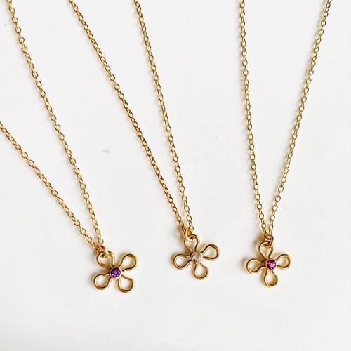Tiny Gemstone Flower Necklace