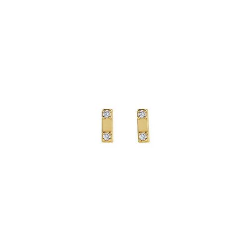 Solid Gold Two Diamond Bar Studs