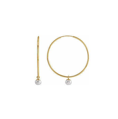 Solid Gold Hoop Earring with Pearls
