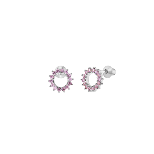 Circle Studs with Pink Cubic Zirconia