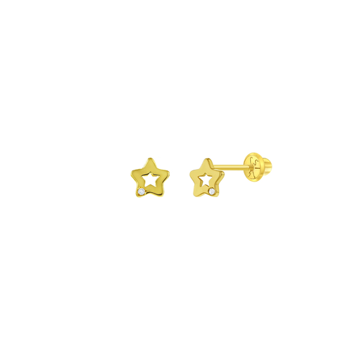 Solid Gold and Diamond Star Earrings