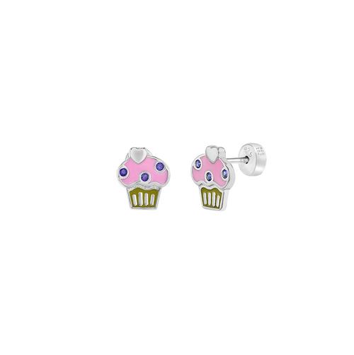 Enamel and CZ Cupcake Earrings