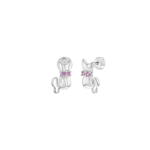 Cat Stud Earrings with Pink Cubic Zirconia Stones