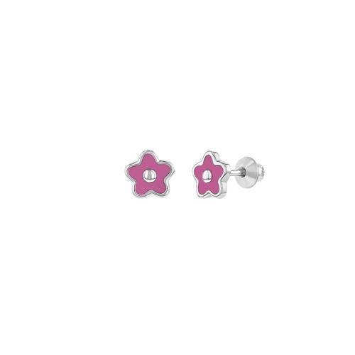 Pink Enamel Flower Stud Earrings