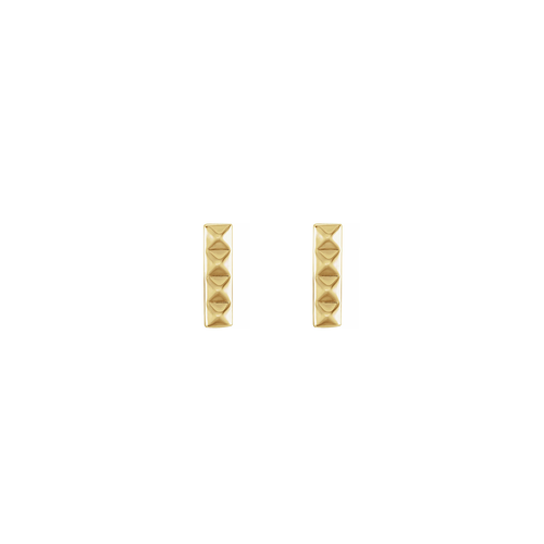 Solid Gold Pyramid Bar Stud Earrings