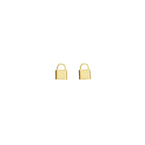 Solid Gold Tiny Lock Earrings