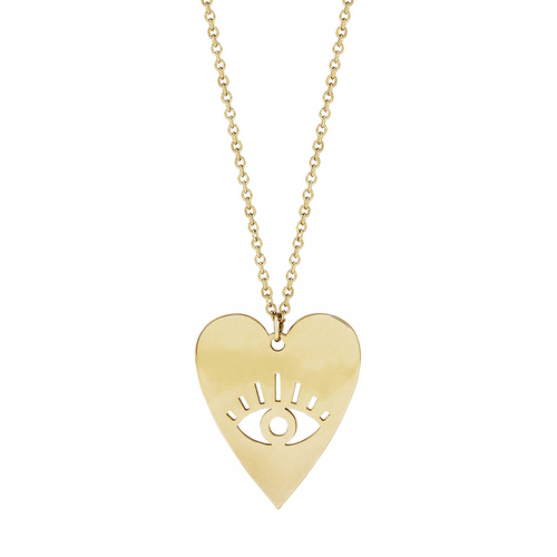 Solid Gold Heart with Eye Necklace