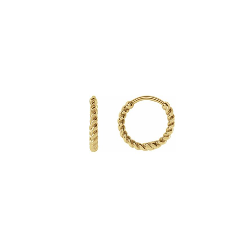 Solid Gold Twisted Huggie Earrings