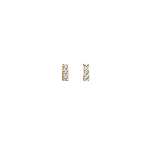 Solid Gold and 3 Diamond Stud Earrings
