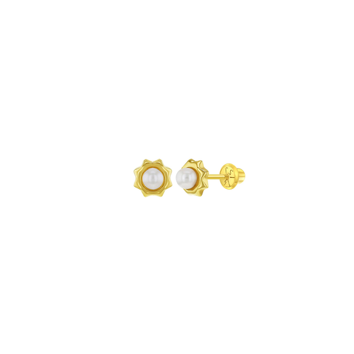 Solid Gold and Pearl Flower Studs
