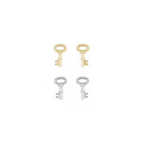 Solid Gold or Sterling Silver Key Stud Earrings