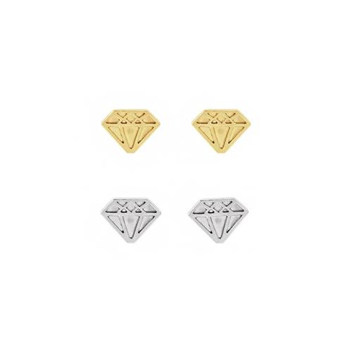 Solid Gold or Sterling Silver Diamond Shape Earrings