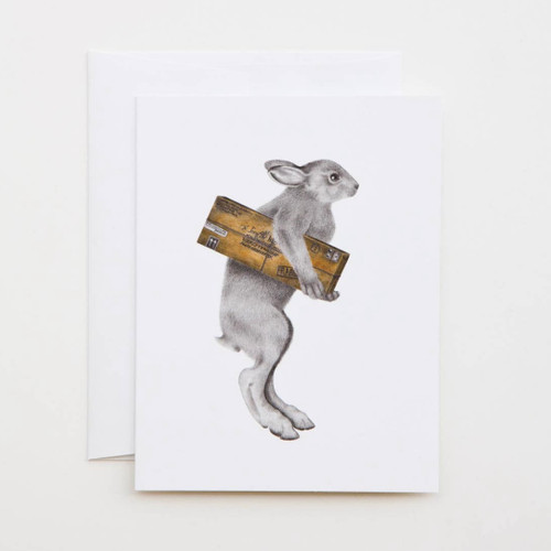 Florence Williamena Snowshoe Hare Greeting Card with Whimsical Story