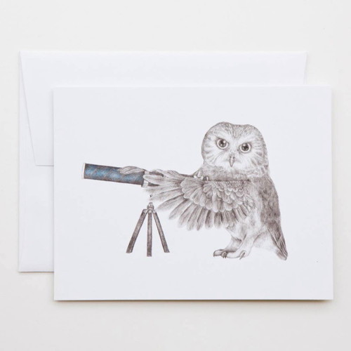 Pearl Papineau Saw Whet Owl Greeting Card with Whimsical Story