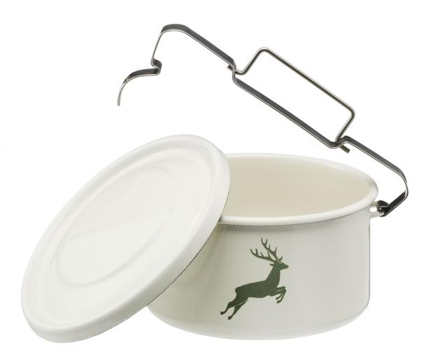 Gaston J. Glock Enamel Food Pot with Lid (shallow/round)