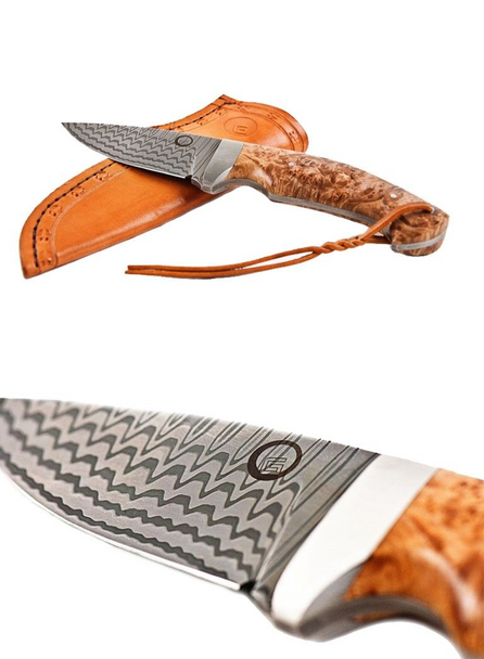 Gaston J. Glock Hunting Knife made of finest Stainless Balbach® Damascus