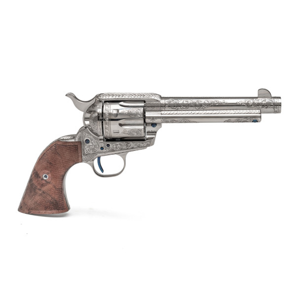 Single Action Revolver Nickel Plated C-Coverage Engraving .45 LC