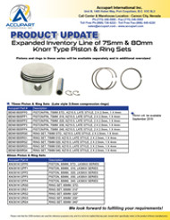 Expanded Inventory Line of 75mm & 80mm Knorr Type Piston & Ring Sets