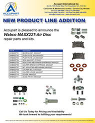 Accupart is pleased to announce the  Wabco MAXX22T-Air Disc  repair parts and kits.