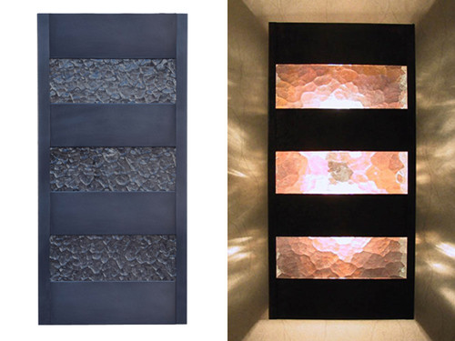 Slat Wall Sconce - Dark Antique Copper finish with Water Glass.  Day and Night View.