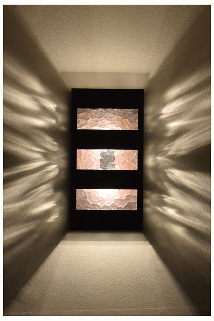 The Slat wall sconce displays a great pattern on your wall when water glass is chosen.  We can even make it with water glass on the sides and another glass on the face as a custom order.