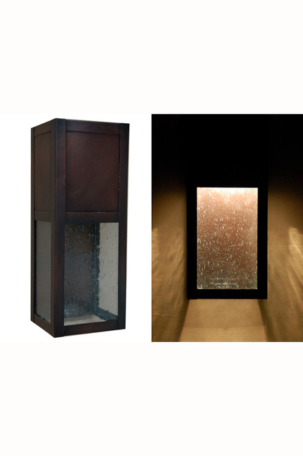 Hidden Light Wall Sconce - Architectural wall sconce featuring dark antique copper and seeded glass.